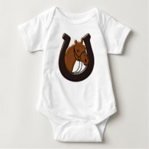 Horse Head and Horse Shoe Baby Bodysuit