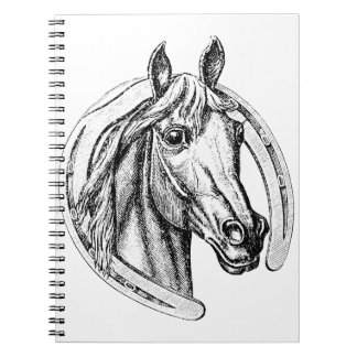 Horse Head and Horse Shoe Spiral Notebook