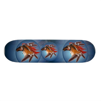 Horse Head and Red Feathers framed Skateboard