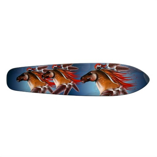 Horse Head and Red Feathers Skateboard