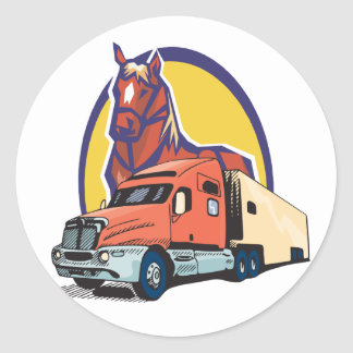 Horse Head and Semi Truck for Truck Drivers Classic Round Sticker