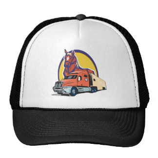 Horse Head and Semi Truck for Truck Drivers Trucker Hats