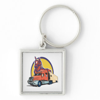 Horse Head and Semi Truck for Truck Drivers Keychain