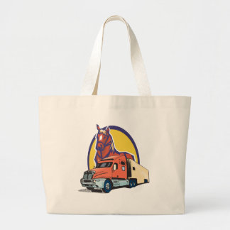 Horse Head and Semi Truck for Truck Drivers Large Tote Bag