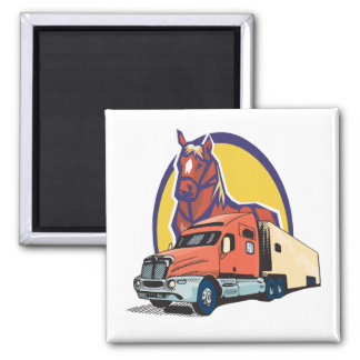 Horse Head and Semi Truck for Truck Drivers Magnet