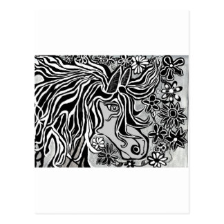 horse head black and white hand illustrated ornate postcard
