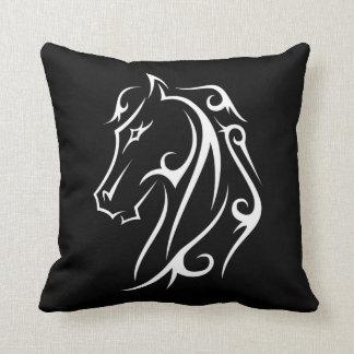 Horse Head Black White Ink Style Art Throw Pillow