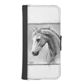 Horse head charcoal art Phone wallet case