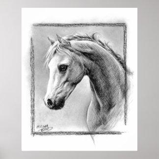 Horse head charcoal art Poster print