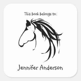 Horse Head Classic Modern Logo Custom Bookplate Square Sticker