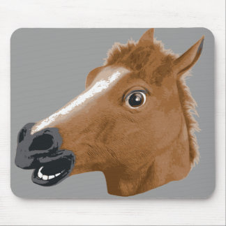 Horse Head Creepy Mask Mouse Pad