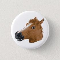 Horse Head Creepy Mask Pinback Button
