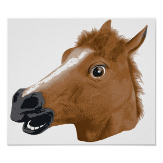 Horse Head Creepy Mask Poster