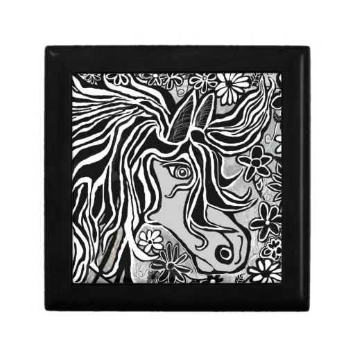 horse head design with floral motif jewelry box