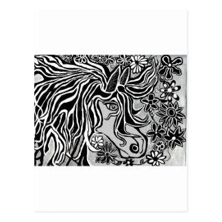 horse head design with floral motif postcard