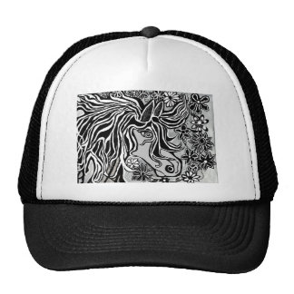 horse head design with floral motif trucker hat