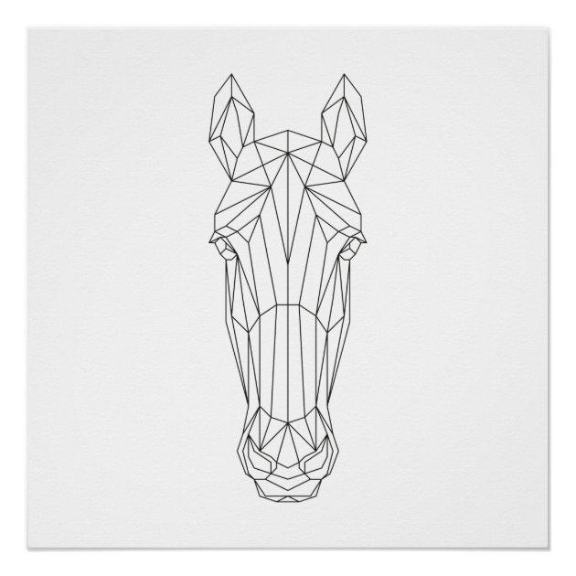 Horse Head Geometric Black White Modern Art Poster Zazzle Com
