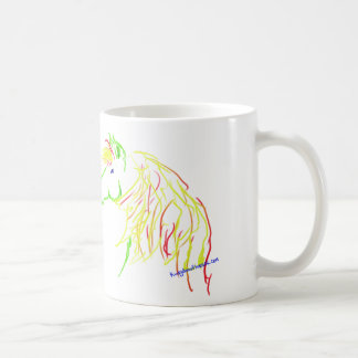 Horse head gesture artwork on a mug