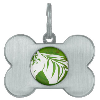 HORSE HEAD GREEN BACKGROUND PRODUCTS PET ID TAG