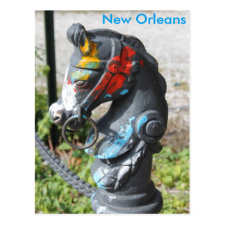 Horse Head Hitching Post Colorful New Orleans Postcard