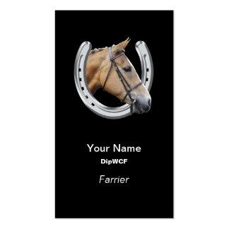 Horse head in a horseshoe farrier business card