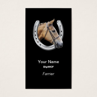 Horse head in a horseshoe farrier business card
