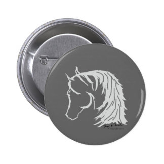 Horse Head in Gray Siloutte 2 Inch Round Button