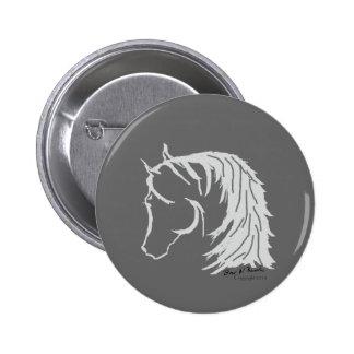 Horse Head in Gray Siloutte Pinback Button