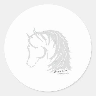 Horse Head in Gray Siloutte Classic Round Sticker