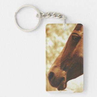 Horse Head in Warm Tones animal photo portrait Keychain