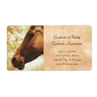 Horse Head in Warm Tones animal photo portrait Label