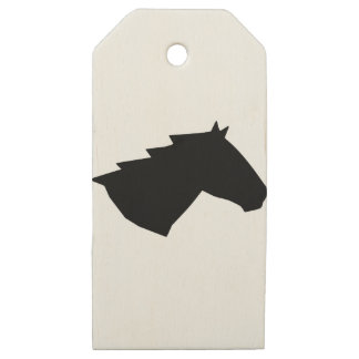 Horse Head in Wind Wooden Gift Tags