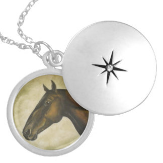 Horse head keychain locket necklace