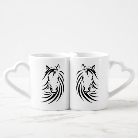 Horse Head Monogram Lovers Mugs