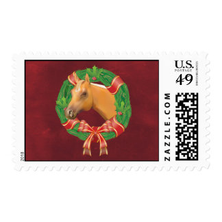 Horse Head N Wreath Holiday Postage