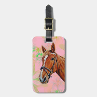 Horse head on floral background, bag tag
