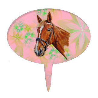 Horse head on floral background, cake topper