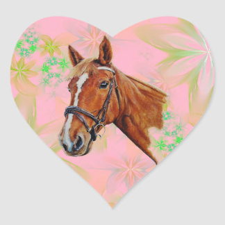 Horse head on floral background, heart sticker