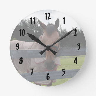 Horse head on over fence fly mask round clock