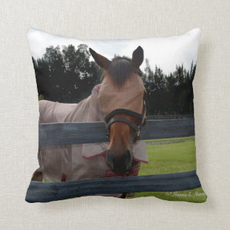 Horse head on over fence fly mask throw pillow