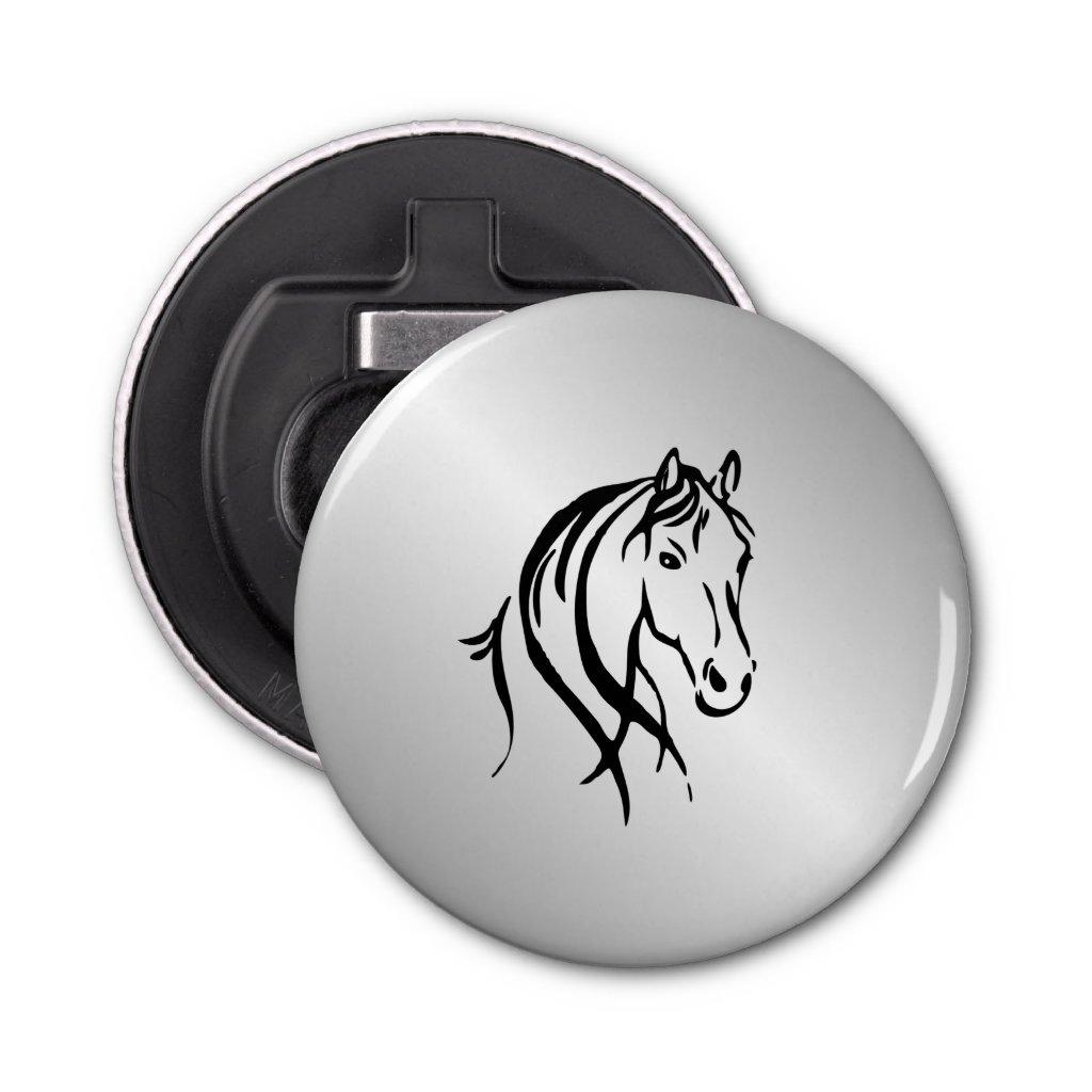 Horse Head on Silver Bottle Opener