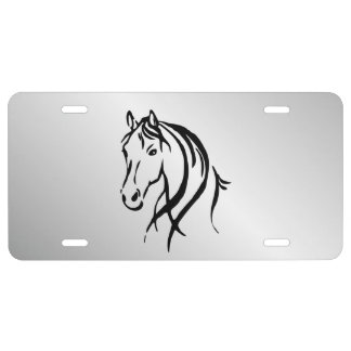 Horse Head on Silver License Plate