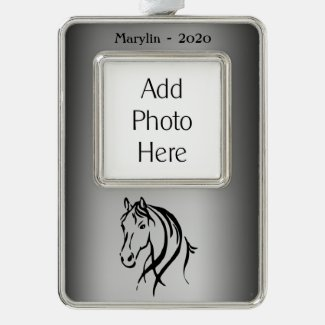Horse Head on Silver Photo Name and Year Silver Plated Framed Ornament