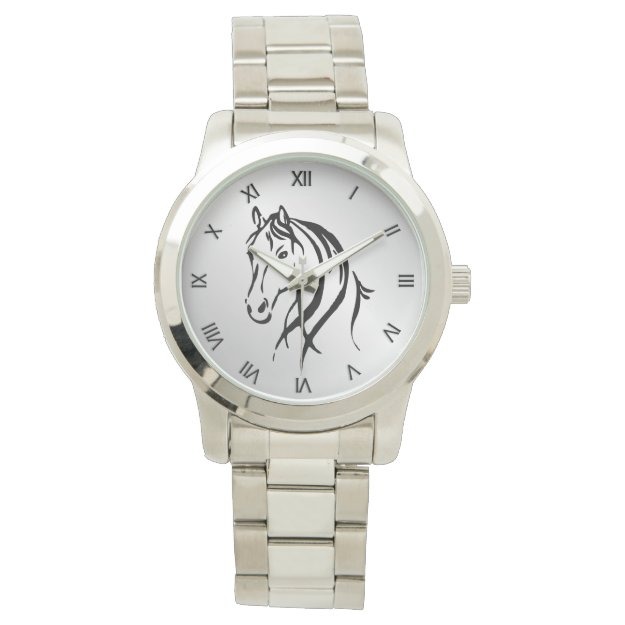 Horse Head on Silver with Roman Numerals Watches