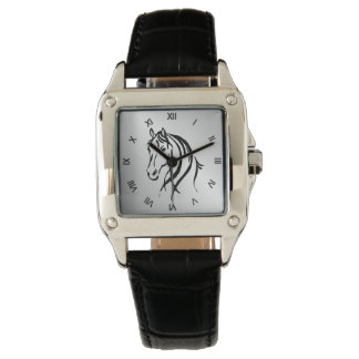 Horse Head on Silver with Roman Numerals Wrist Watch