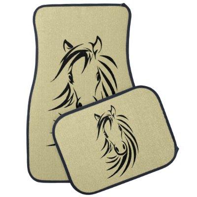 Horse Head on Tan Car Mat