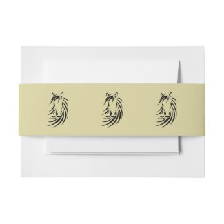 Horse Head on Tan Invitation Belly Band