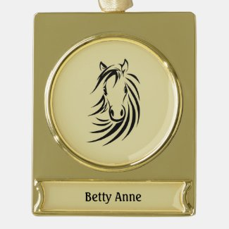 Horse Head on Tan Personalized Gold Plated Banner Ornament