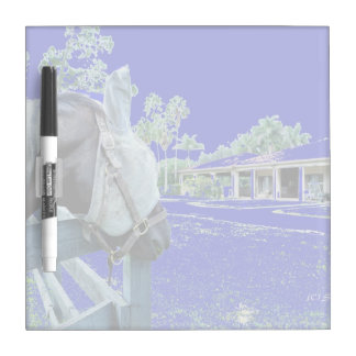 horse head over fence blue colored Dry-Erase board