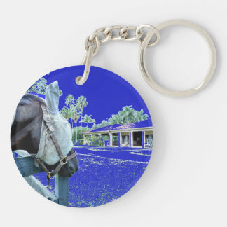 horse head over fence blue colored keychain